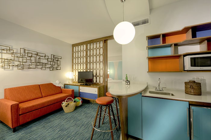 Universal Orlando?s fourth on-site hotel, Universal?s Cabana Bay Beach Resort is now open! The retro-inspired hotel features incredible amenities for endless family fun including a 10,000 sq. ft. zero-entry pool with iconic dive tower waterslide, 10-lane bowling alley, the Jack LaLanne Physical Fitness Studio, family suites that sleep up to six and much more. This summer, guests will be able to enjoy even more family fun, including a second 8,000-square-foot zero entry pool, Universal Orlando?s first lazy river at an on-site hotel, The Hideaway Bar & Grill, and additional moderately-priced family suites and value-priced standard guest rooms. © Universal Orlando Resort. All Rights Reserved.