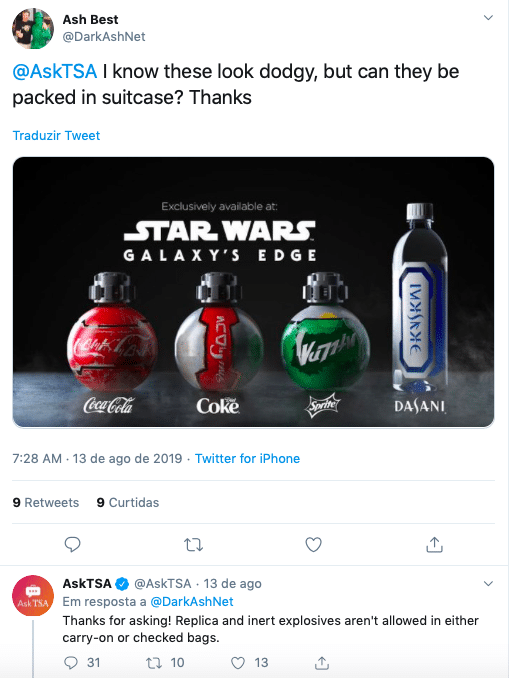 Garrafas da Coca-Cola vendidas no Star Wars Galaxy's Edge