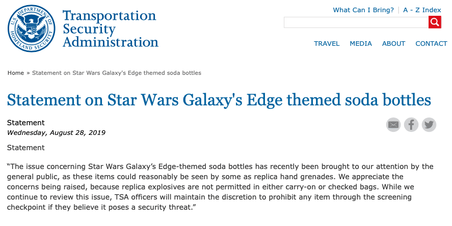 comunicado TSA sobre garrafas Star Wars galaxy's edge